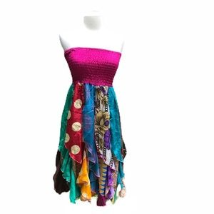 India Boutique Patchwork Strapless Dress OS